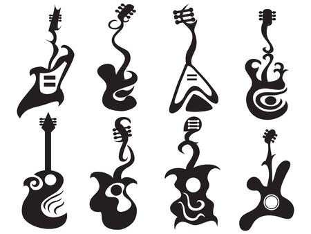 gitara: niektóre deseń abstrakcyjna zaprojektowane gitara Ilustracja