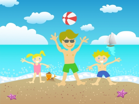 beach ball girl: father and kids playing on the beach