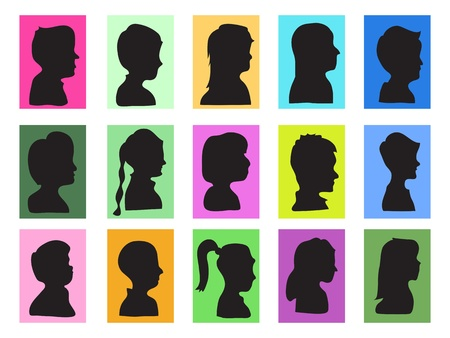kid profiles set for design Stock Vector - 9920744
