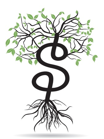 성장하는 달러 기호 나무 일러스트