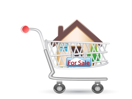 house in shopping cart for design Stock Vector - 9920750