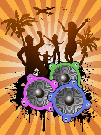 the ray background of people dancing in summer Vector