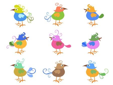 bird clipart: alcuni uccelli colorati dei cartoni animati per il design