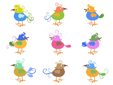 some colorful cartoon birds for design
