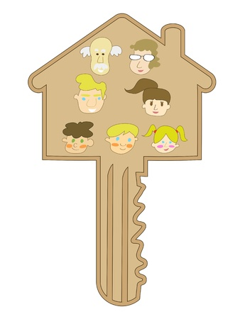 cartoon style of family key for design Vector