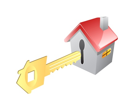 the concept of key for house Vector