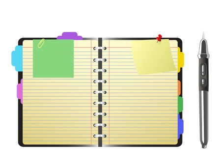 personal organizer: open personal organizer and pen on white background Illustration
