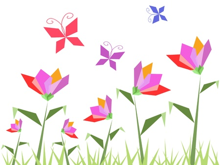 paper flowers and butterfly flying around Vector