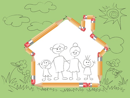 pencil in house shape and doodle family drew on it Stock Vector - 9980419