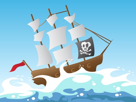 cartoon style of pirate ship