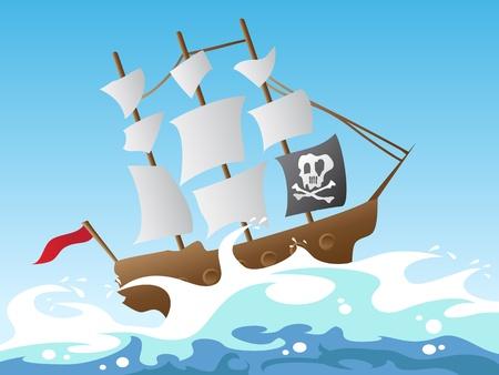Karikatur-Art der Piratenschiff