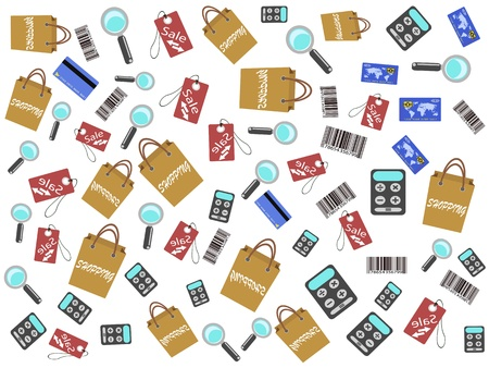 shopping icons seamless background for design Stock Vector - 9980418