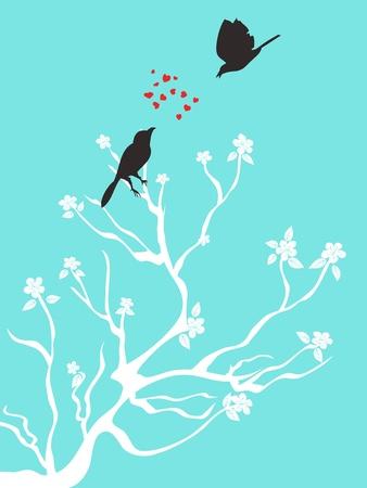 2 羽の鳥は青色の背景に愛を話す