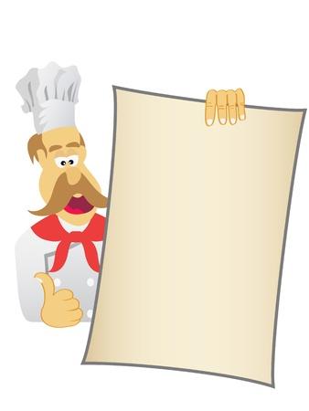 welcome smile: Chef mostrando hoy Vectores