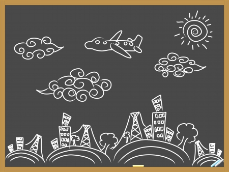 hand drawing doodle travel background drew on blackboard Иллюстрация