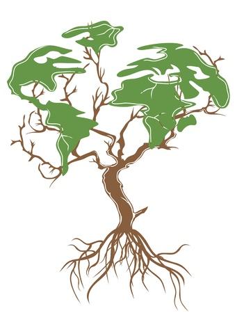흰색 배경에 고립 된 녹색 지구 트리