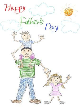 stylize: doodle gelukkige vader Stock Illustratie