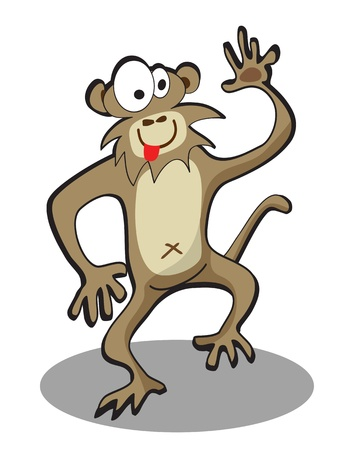 wry: cute cartoon funny monkey on white background