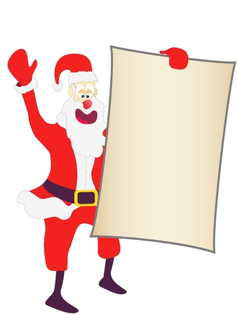 mas: Christmas Santa holding a blank sign on white background