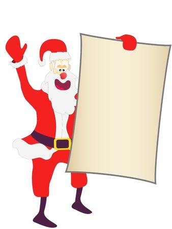 mas: Christmas Santa holding a blank sign on white background