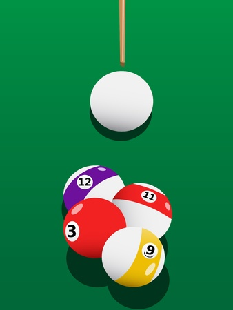 Billiards aiming at game on green billiards table Vector