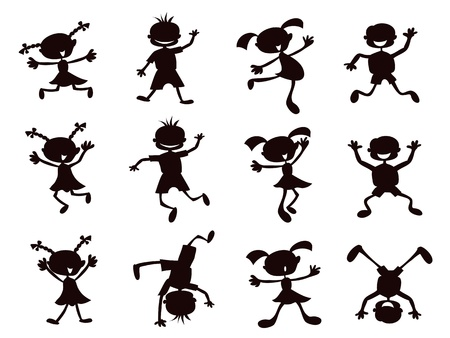 female child: black silhouette of cartoon kids playinig on white background