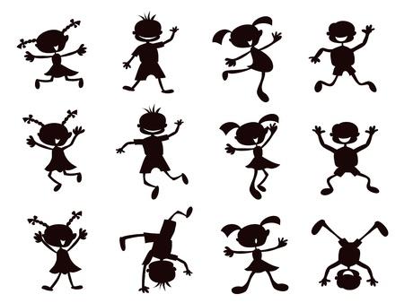 bambini disegno: sagoma nera di cartoni animati per bambini playinig su sfondo bianco