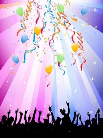 serpentinas: Multitudes felices en un festival en fondo multicolor
