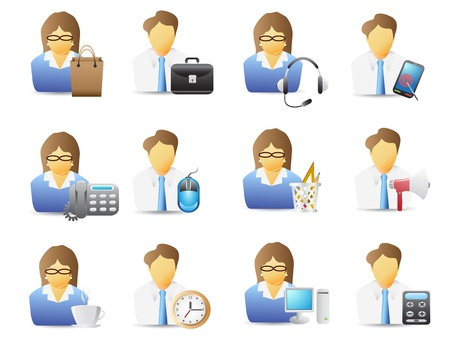 icons of office workers with office tools Vector