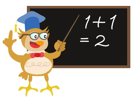 cartoon math: cute owl teacher teaching in front of blackboard