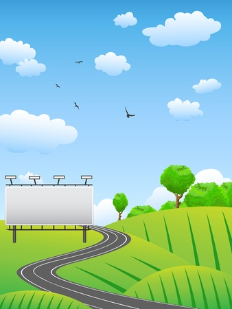 birds scenery: road with billboard on countryside Illustration