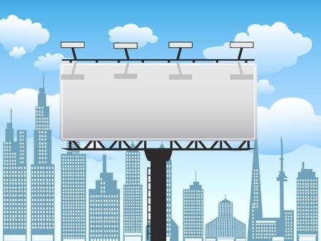 安らぎ: 付いている都市にビルボード立って澄んだ青い空  イラスト・ベクター素材