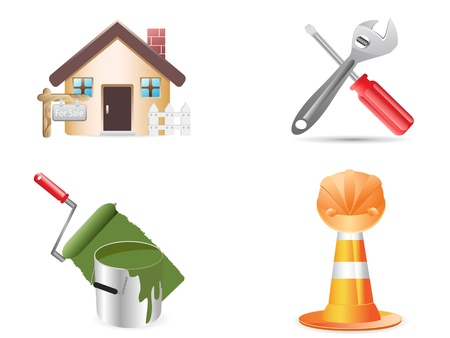 home deco: building and construction website icons for design