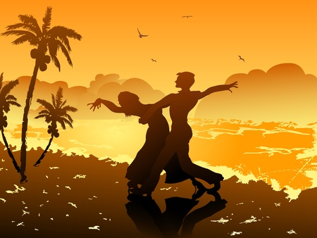 romantic getaway: a couple dancing on the beach at sunset Illustration