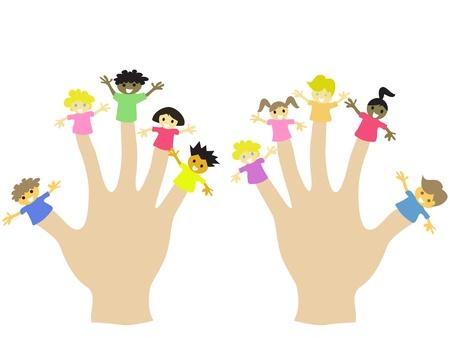 finger cartoon: hand wearing 10 finger children puppets  Illustration