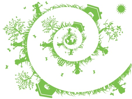 ni�os reciclando: el fondo verde espiral de dise�o ecol�gico Vectores