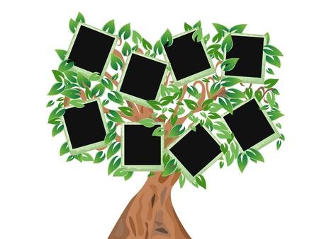 사진을 프레임이 녹색 나무