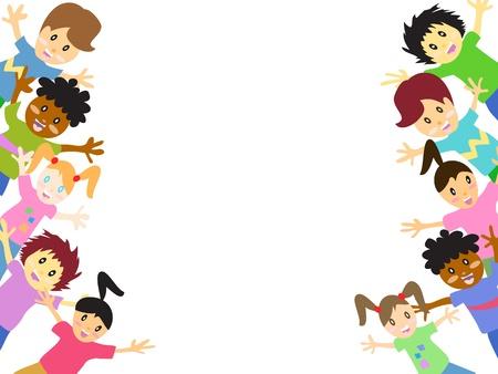 enfants: enfants derri�re, avec copie espace Illustration