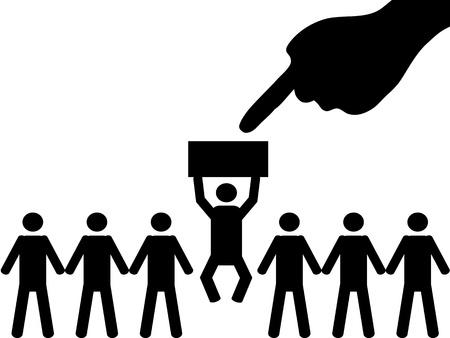 employ� heureux: Une personne est choisie parmi un groupe pour l'emploi