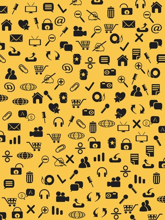 Seamless web icons pattern on yellow background Vector