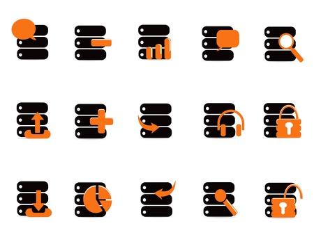 database security: black database icons for web design