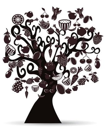 검은 과일과 야채 디자인 트리