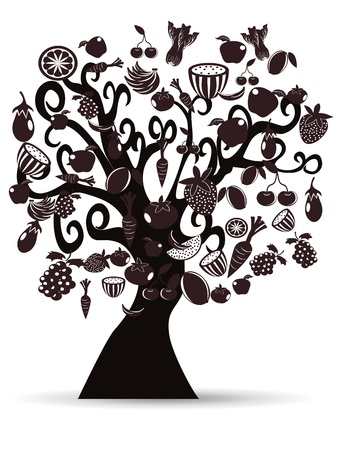black fruits and vegetables tree for design Vector