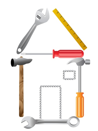 screwdrivers: House symbol made of tools in vector form