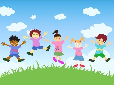 행복한 아이들이 잔디 위에 점프 일러스트