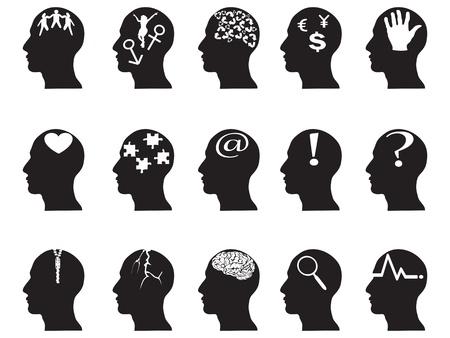 cerebros: perfiles negros con s�mbolos de la idea de dise�o