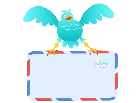 cartoon envelope: Funny Blue Bird carrying mail Illustration