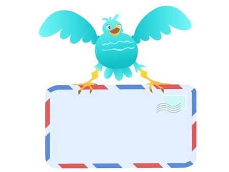 pajaro azul: P�jaro azul divertido llevar correo Vectores
