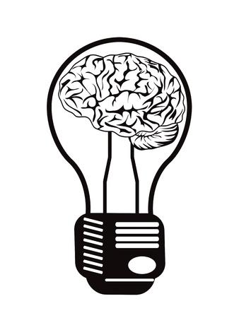 power saving lamp: the concept of brain light bulb for design Illustration
