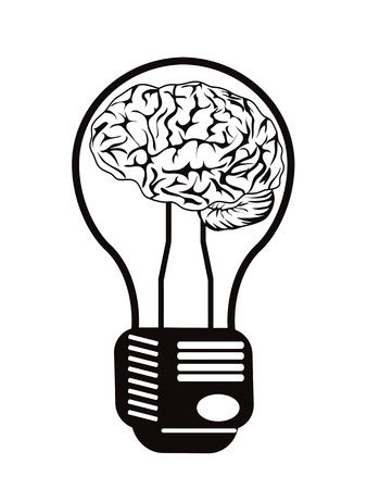 power of thinking: the concept of brain light bulb for design Illustration